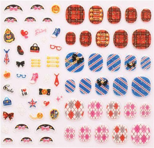 pattern gingham argyle fingernail glitter stickers Japan - modeS4u