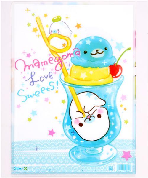 Mamegoma Baby Seals Ice Cream A4 Plastic File Folder