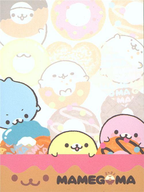 Mamegoma Baby Seals Mini Memo Pad With Donuts 3