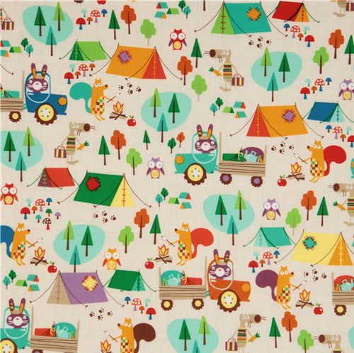 Michael miller usa designer fabric critter camp child for Unique childrens fabric