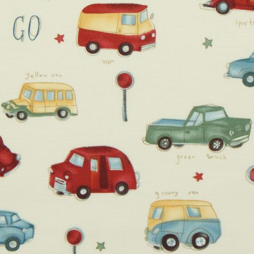 Michael Miller Cars Vintage Fabric Stop N Go Retro Fabric