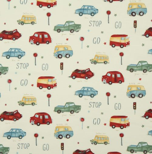 Tela de michael miller coches vintage stop n go telas for Telas vintage