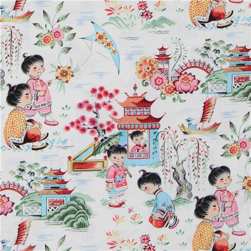 Michael miller designer fabric chinese kids asia fabric for Childrens quilt fabric