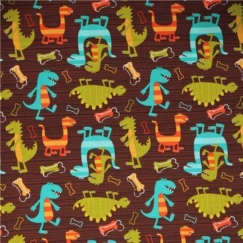 Michael miller fabric dino dudes cute dinosaur children for Children s jersey fabric