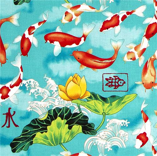 Michael miller fabric koi fish lotus flower wave animal for Koi fish print fabric