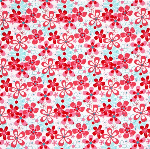 Light Blue Designer Fabric With Little Pink Roses Flowers 2