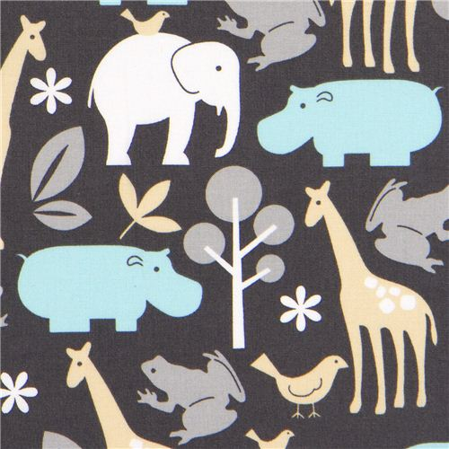 Dark Brown Zoology Cotton Quilting Fabric Michael Miller