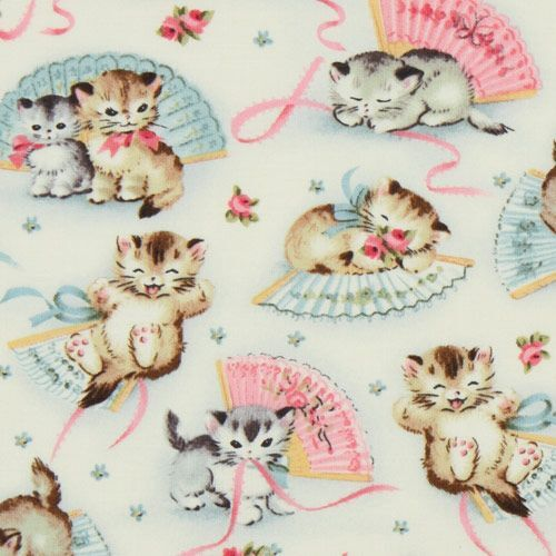 Michael miller vintage fabric kitty smitten kittens for Retro baby fabric