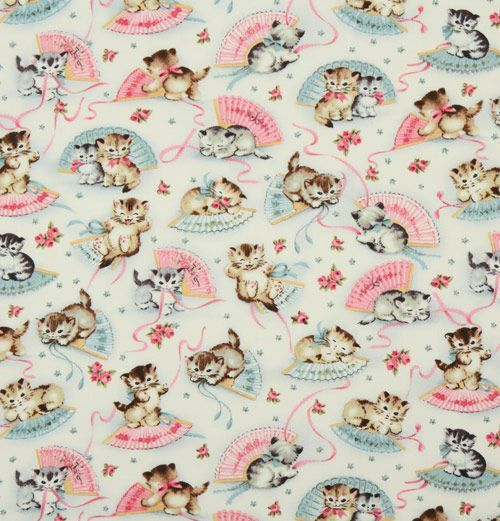 Michael miller vintage fabric kitty smitten kittens for Retro fabric