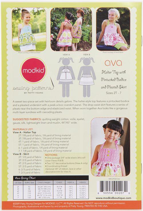 Patrones costura para top, falda infantil verano Ava Modkid ...