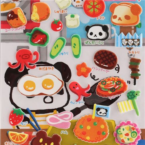 Ojipan panda as food 3D stickers and food dish sticker from Japan 1