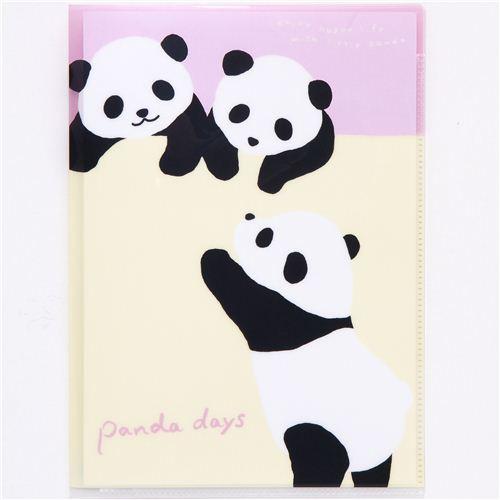 Carpeta Del Oso Panda Con 4 Compartimentos Kawaii