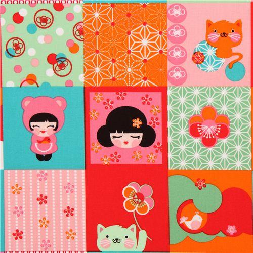 Tela patchwork kawaii mueca Kokeshi de Robert Kaufman EEUU