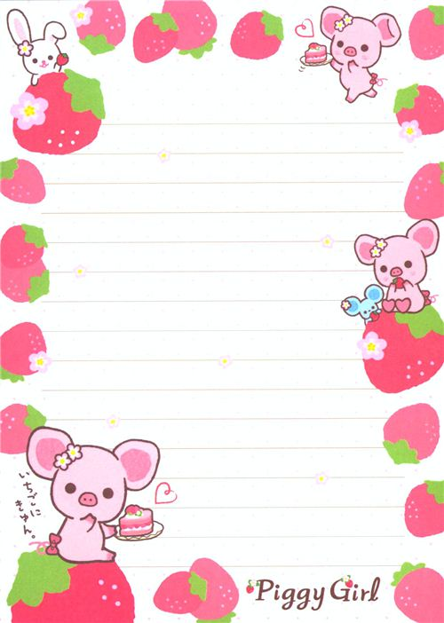 Piggy Girl Pig Strawberry Cake Mini Note Pad Memo Pads