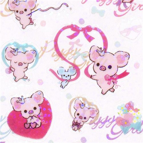Piggy Girl Stickers With Pink Pig Heart Ribbon 1