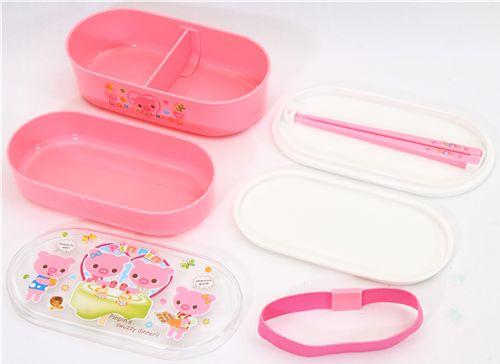 pink bento box piggy family kawaii lunch box bentos bento boxes kawaii shop modes4u. Black Bedroom Furniture Sets. Home Design Ideas