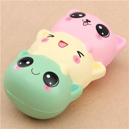 Squishy Caterpillar : cute green light yellow pink cat dango squishy kawaii - Animal Squishy - Squishies - Kawaii Shop ...