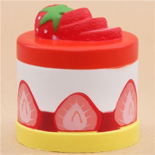 Squishy Cake Food 52 : Cute red white yellow strawberry round cake Vlampo squishy kawaii - Food Squishies - Squishies ...