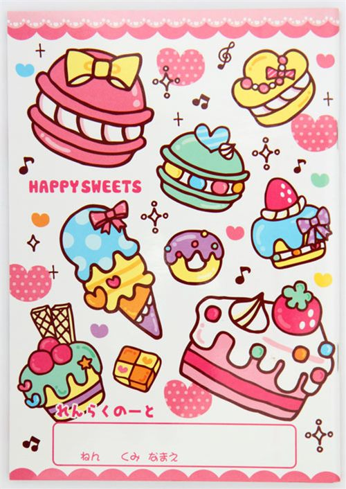 Q lia school notebook kawaii cake cupcake macaroon memo for Decoration cuisine kawaii