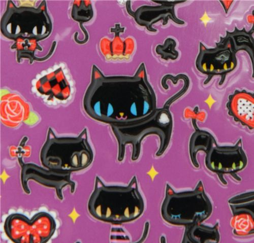 Q Lia Sticker Black Cats Kawaii Poker Symbols Hearts Sticker