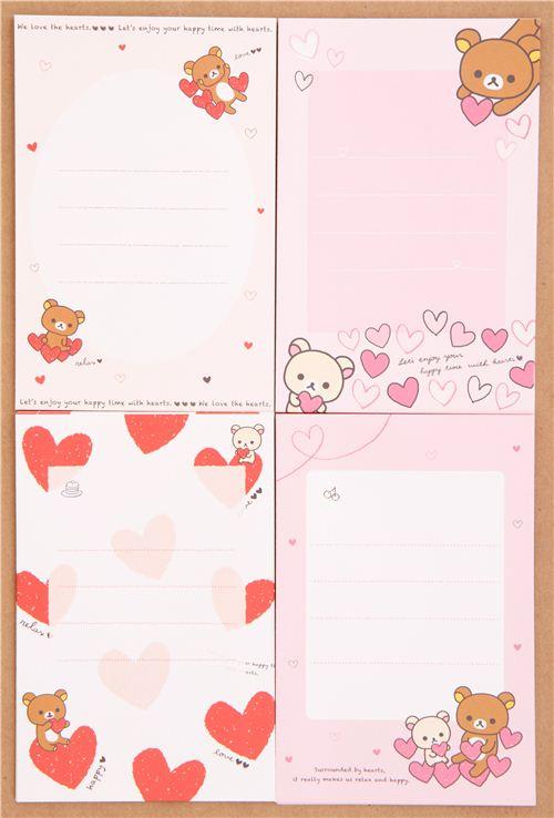 rilakkuma bear chick heart love letter paper set japan