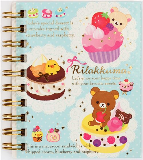 rilakkuma mini ringbuch notizbuch b r san x cupcake. Black Bedroom Furniture Sets. Home Design Ideas