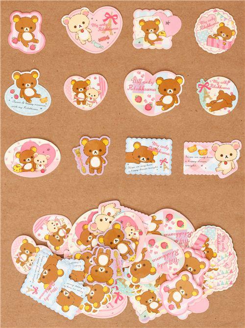 rilakkuma teddy bear sticker sack san x kawaii sticker flakes