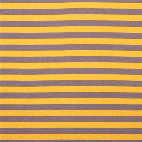 Riley Blake stretch knit fabric thin stripes yellow-gray - Knit ...