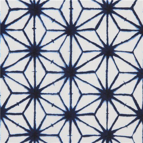 Weisser Stoff Mit Marineblauem Asanoha Muster