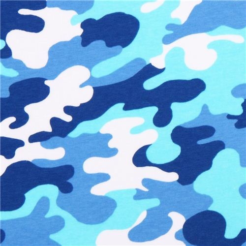 Robert Kaufman Camouflage Blue Laguna Jersey Knit Fabric
