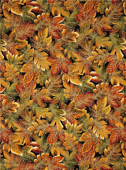 Robert Kaufman Autumn Fabric With Golden Leaves Flower