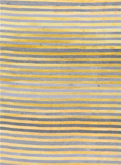 Robert Kaufman grey yellow stripe tie dye Batik look fabric ...
