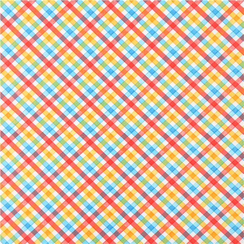 Robert Kaufman red yellow blue checkered fabric Storybook Meadow ...
