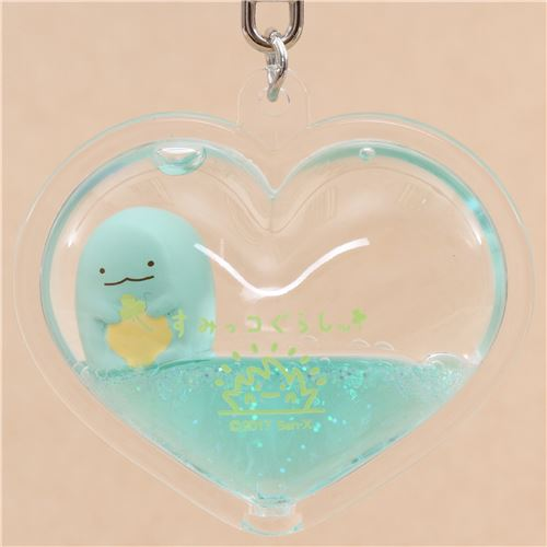 San-X Sumikkogurashi lizard turquoise liquid heart shape ...