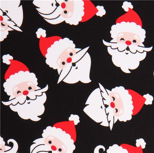 Weihnachtsmann Stoff Schwarz Robert Kaufman Merry