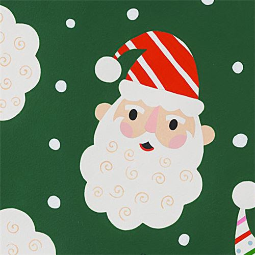 Christmas Green.Santa Claus And Dots Christmas Fabric By Alexander Henry In Green