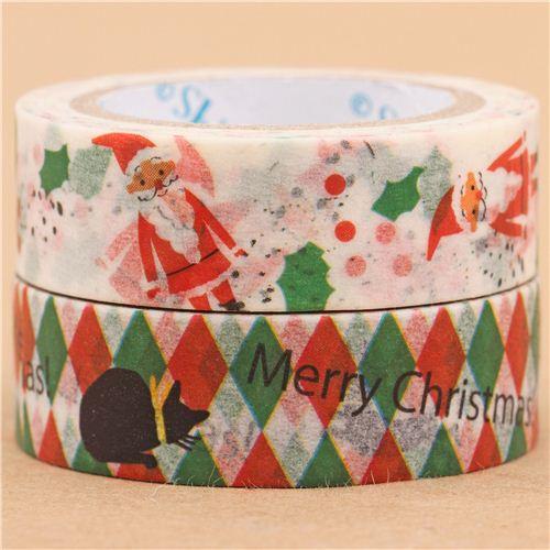 Set nastri adesivi coprenti washi babbo natale gatti 2pz shinzi katoh nastri adesivi natalizi - Nastri decorativi natalizi ...