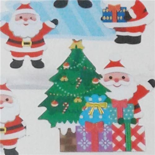 Pegatinas Navidenas De Colores Con Papa Noel Gracioso Divirtiendose
