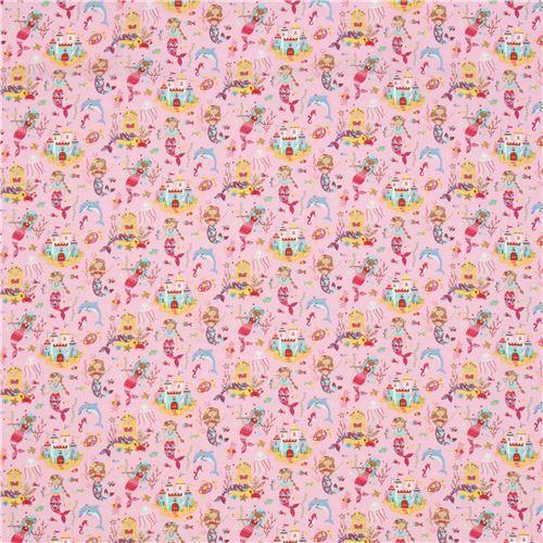 bfbd4e92687 Stof France pink knit mermaid fabric - modeS4u