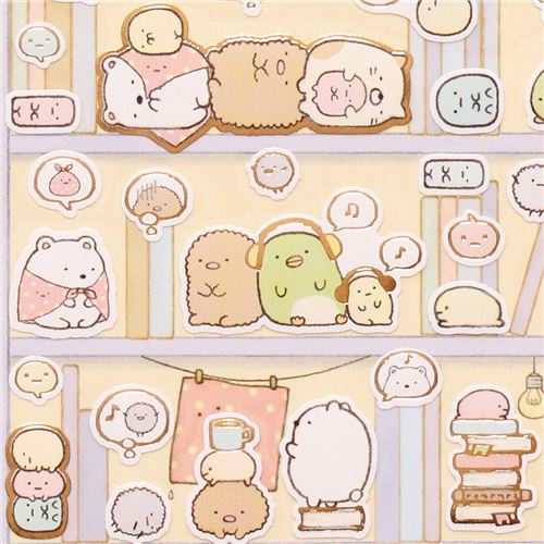 sumikkogurashi ecke b r katze stickers im b cherregal san x sticker sticker schreibwaren. Black Bedroom Furniture Sets. Home Design Ideas