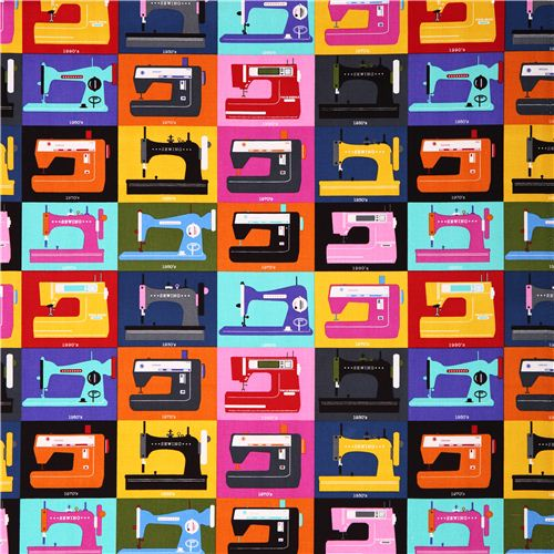 Timeless treasures retro sewing machines sewing fabric for Sewing material for sale