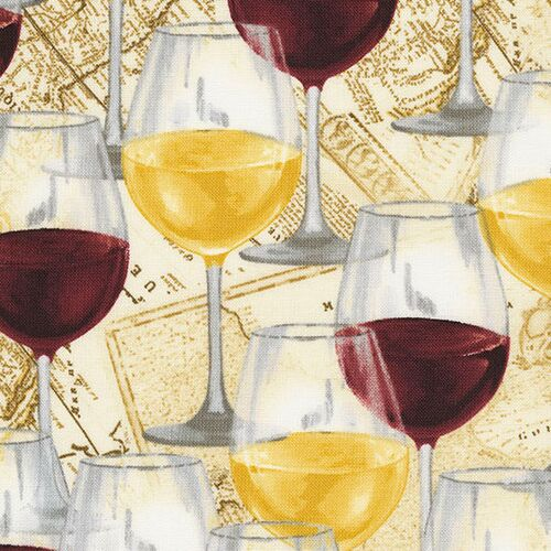 100/% Cotton Fabric Timeless Treasures Wine Bottle Grapes Wine Glass