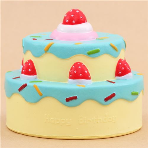 Vlampo cute happy birthday cake blue icing squishy kawaii Food