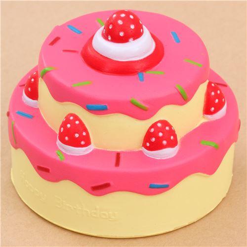 Squishy Cake Food 52 : Vlampo cute happy birthday cake hot pink icing squishy kawaii - Food Squishy - Squishies ...