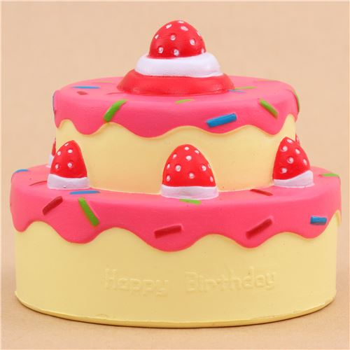 Vlampo cute happy birthday cake hot pink icing squishy kawaii