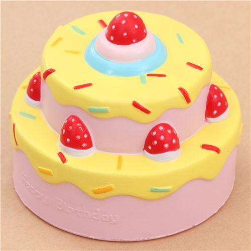 cute birthday cake Vlampo cute happy birthday cake yellow icing squishy kawaii   Food  cute birthday cake