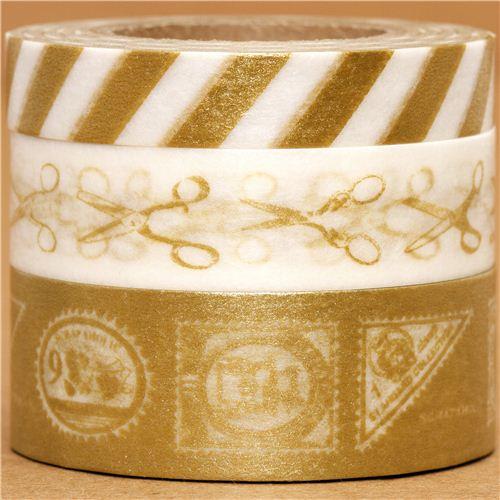 Set 3 nastri adesivi decorativi washi forbici francobolli set di nastri decorativi nastri - Nastri decorativi natalizi ...