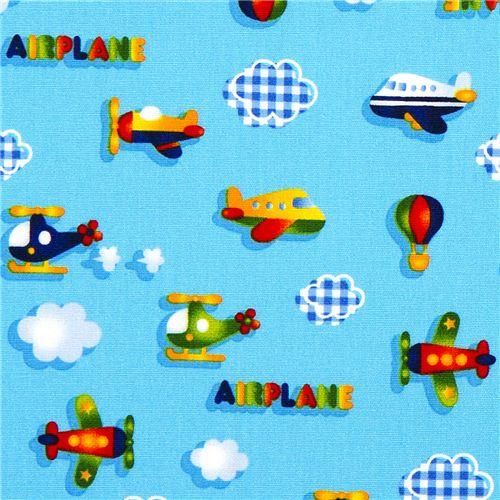 Tela de aviones para ni os con helic pteros de kokka - Telas con dibujos infantiles ...