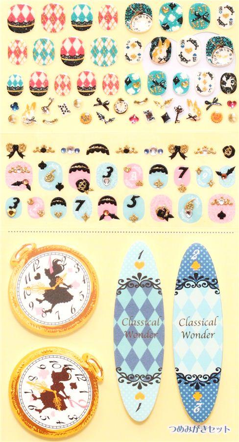 Alice in Wonderland fingernail glitter stickers from Japan - Cute ...