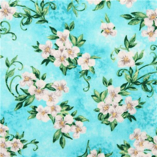 Aqua Blue Flower Blossom Timeless Treasures Fabric U0027Garden Floralu0027 2
